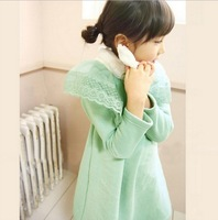Free Shipping New 2013 Autumn Children Clothes 4 pcs/lot Girl Korean Lady Fleece Dress,  Fashion Lace Fur Collar Princess Dress