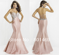 New Design 2014 Blush Mermaid  Prom Dresses Strapless Sleeveless Beaded Rhinestone Sheer Back Bodice Ruched Taffeta Evening Gown