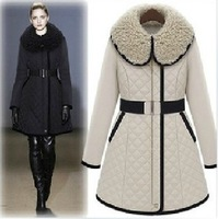 Free shipping 2013 new winter women's cotton, women Slim waist long section thick fur collar cotton-padded jacket solid