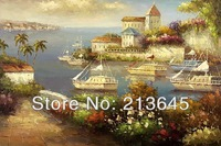 free shipping mediteranean sea landscape Handmade Oil Painting Reproduction  wall art decoration oil painting