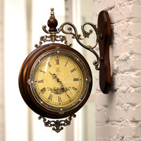 Lemon quality solid wood double faced mute wall clock fashion rustic clock