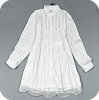 Mori girl white 100% cotton vintage lace long shirt design shirt long-sleeve loose shirt Blusas de camisas free shipping
