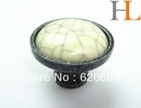 12pcs crackled ceramic drawer knobs with metal base