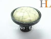 12pcs crackled ceramic drawer knobs with metal base