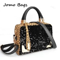 Fashion leopard print paillette normic knitted handle suede fabric small bags women's handbag messenger bag