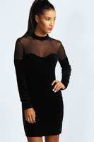 Free shipping + New Fashion New Black Velvet Sweetheart Neck Bodycon Dress LC2998