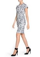 Women Casual Gray Floral pattern Short Sleeve  Dress,DR3051-A03