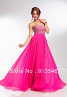 Elegant A-Line Style EG-627 Off Shoulder Sleeveless Chiffon Crystal Beaded Celebrity Dress
