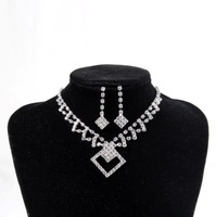 Wedding jewelry sets ! Fashion Classic silver plated full Rhinestone Square Pendant Necklace Earrings Bridesmaid jewelry sets