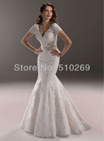 Free Shipping 2014  New Arrival Custom-made  RLF-41 High Quality Lace Mermaid  Appliques Sashes Wedding Dress