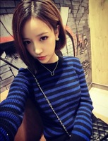 Autumn and winter preppy style blue black stripe o-neck pullover sweater outerwear shirt tops