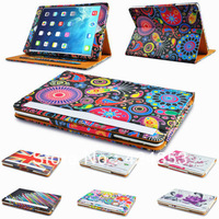 Printing Tan Leather Wallet Smart Flip Case Cover for The New iPad iPad Air With Sleep and Wake