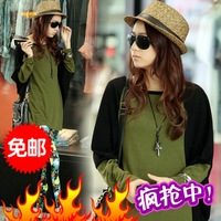 2013 autumn colorant match faux two piece long-sleeve loose women's o-neck batwing sleeve t-shirt 100% cotton