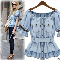 2013 new wholesale denim coat Europe and America short-sleeved Waist shirt light blue short-sleeved shirt