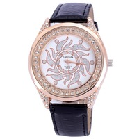 Newest style dropship women watches leather dress quartz alloy round luxury rhinestone rose gold plated for ladies new year gift