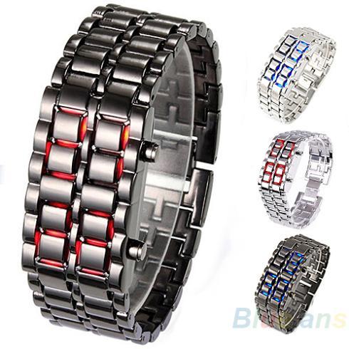 2014 New Fashion Men Women Lava Iron Samurai Metal LED Faceless Bracelet Watch Wristwatch Full Stainless