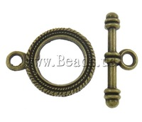 Free shipping!!!Zinc Alloy Toggle Clasp,ladies, Donut, antique bronze color plated, single-strand, nickel, lead & cadmium free