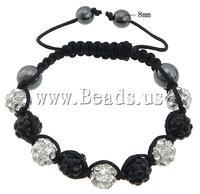 Free shipping!!!Rhinestone Shamballa Bracelets,New 2013 Jewelry, rhinestone pave bead, with Nylon Cord & Non-magnetic Hematite