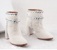 free HONGKONG POST~f586 white genuine leather pearl rhinestone heel boots