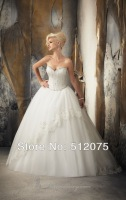 Kiss Family 2014 New Arrival Wedding Dresses Hot Sale Beaded Lace Up Charming Ball Gown Wedding Gown Custom Made