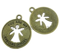 Free shipping!!!Zinc Alloy Pendants,Jewelry Accessories, Flat Round, antique bronze color plated, nickel, lead & cadmium free