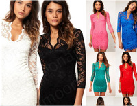 6 Colours Sex Women Ladies V-neck Mini Slim Lace Dress Party Clubwear 3/4 Sleeve