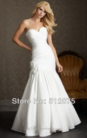Kiss Family 2014 New Arrival Wedding Dresses Mermaid Flowers Pleat Hot Sale Charming Sexy Wedding Gown Custom Made