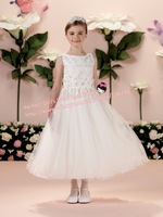 Free Shipping!Fashion 2014 Bateau Neck Mid-calf three-dimensional Flower Satin Flower Girl First Holy Communion Dresses