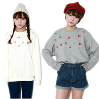 Womens Casual Loose Embroidery Cherry Pullover Crewneck Sweater Sweatshirt Tops free&drop shipping