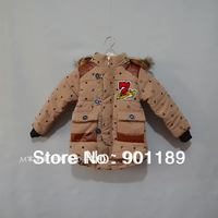 New arrival wholesale fashion warm hooded toddler's thickening jacket baby boy's cotton overcoat kid's joint coat wear