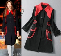 Fashion Runway Cool British Style Outwear Single Breasted Big Pockets Decorate Black and Red Patchwork Wool Blends Coat