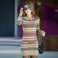 2014 New Fashion Korean Women Thick Long Slim Hip Knitted Sweater Dress Pullover For Winter