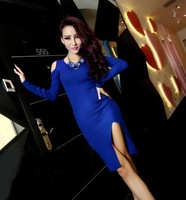 2014 autumn fashion sexy strapless high vent slim hip long-sleeve basic one-piece dress