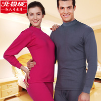 100% cotton turtleneck basic thin thermal underwear male women's long johns long johns set