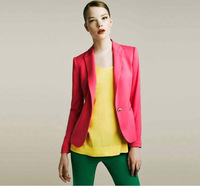 Women Candy Color Suit Blazers Elegance Colorful One Button Style FOLDABLE SLEEVES COAT Cotton Fabric WB01 Free Shipping