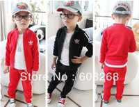 New 2013 Spring Autumn baby boy kids Clothing Sport coats + Pants Hooded clothes Children outerwear suits boys girls sets
