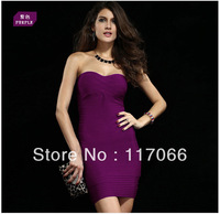 2014 new arrival fashion purple black white yellow blue off-shoulder strapless Bandage dresses sexy stain mini evening dress