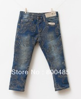 Spring 2014 the latest designer court official synchronization patterns for girls denim flower jeans 5pcs/lot brand name