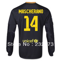 New 13/14 BFC 3rd Third #14 Mascherano   Long sleeve Jersey Black 2013-2014 Cheap Soccer Unforms Football kit free shipping
