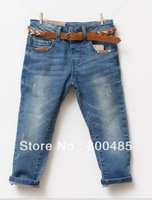 Spring 2014 new arrival hot sell good edition children jeans for girl and boy with Flower belt 5pcs/lot brand name