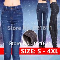 2014 Winter Women Casual Fashion Quality Warm Mink Fleece Slim Skinny Pencil Pants Denim Jeans S/M/L/XL/2XL/3XL/4XL Plus Size