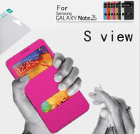 50pcs Screen protector +50pcs S view Two Window Flip Leather Cover Battery Moving Case For Samsung Galaxy Note 3 N9000