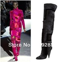 Big Sale Geometric Patchwork Fur Over Knee Real Leather Boots Women For Christmas Party Horsehair Tight High Motorcycle Boots