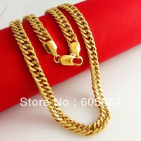 Hot Sale Real 24 K Gold Plating Necklaces ! Choose Men's 6mm Dense Group Curb Figaro Chains Necklace ! B045