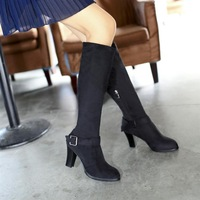 2013 New European and American fashion female boots belt buckle pointed thick with zipper boots, motorcycle boots