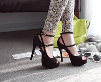 new design lady platform wedges shoes open toe pumps sexy nightclub thin super high heels sandals women summer shoes 35-39 15cm