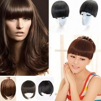 3 Colors Charming Clip-In Front Wigs Straight Neat Fake  Bangs Fringe Wig Hair Extension Women Girl
