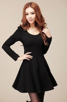 New Lady's Casual Fashion dress Long hubble-bubble sleeve Round Collar
