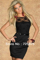 The New Black Waistband Sleeveless Sexy Package Hip Print Vest Dress