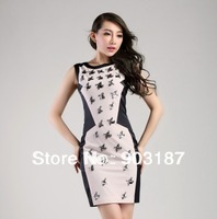 Free shipping 2013 Women's new decorative beaded vest dress Slim skirt dress DQ318